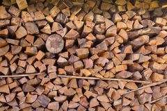Drying wood in stack. For a fireplace Royalty Free Stock Photos