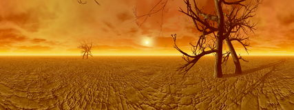 Dryness in desert - 3D render Stock Image