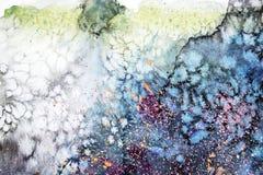 Dryper blå rosa purpurfärgad fläck för vattenfärgen klickar Abstrakt akvarellillustration royaltyfria bilder