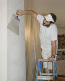 Drywall finishing a knocked down surface royalty free stock photo