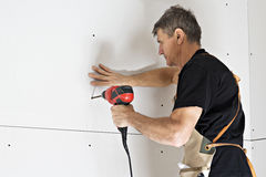 Drywall Installation Royalty Free Stock Photography