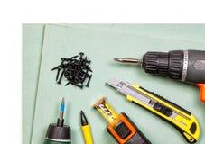 Drywall narzędzia ustawiający na białym tle obrazy royalty free