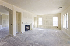 Drywall in a Newly Constructed House. New drywall ready for paint Stock Images