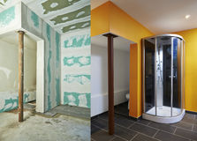 Drywall-Plasterboard and  bathroom Royalty Free Stock Photos