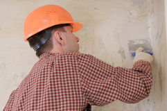 Drywall taping contractor stock image