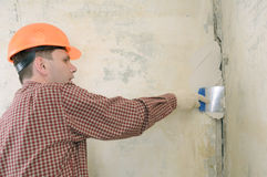 Drywall taping contractor Royalty Free Stock Image