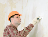 Drywall taping contractor Stock Photo