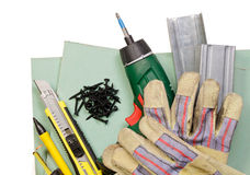 Drywall tools set Stock Photo