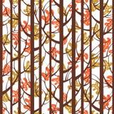 Drzew drewien lampasów bezszwowy wzór Lasowi drzewa z liśćmi Zdjęcia Royalty Free