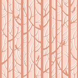 Drzew drewien lampasów bezszwowy wzór Lasowi drzewa z ptakami Fotografia Royalty Free