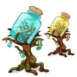 Drzewa dekorowali banka z statkiem Morski pojęcie ilustracji