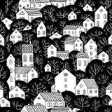 Drzewa i domów bezszwowi deseniowi czarny i biały kolory Obraz Royalty Free