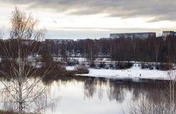 Drzewa i domy na brzeg rzeki Zdjęcia Royalty Free