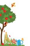 Drzewa i kwiaty w ogródzie royalty ilustracja
