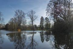 Drzewa i nieba odbicie na głębokim jeziorze zdjęcie royalty free