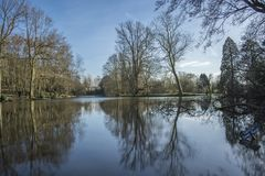 Drzewa i nieba odbicie na głębokim jeziorze obraz stock