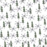 Drzewa i płatka śniegu wzór Zdjęcia Royalty Free