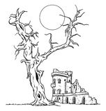 Drzewa i ruiny kasztel Zdjęcia Stock