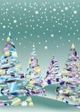 drzewa krajobrazowy śnieżny xmas royalty ilustracja