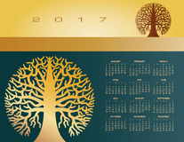 2017 drzewa Kreatywnie round kalendarz Zdjęcia Stock