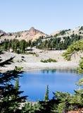 Drzewa odbija na błękitnym halnym jeziorze Obraz Stock