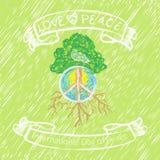 Drzewa, pokojowego i białego gołąb, Zdjęcia Stock