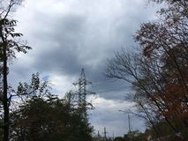 Drzewa, szarości chmurny niebo Elektrownie, natura, wieś Obraz Royalty Free