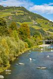 Drzewa w jesieni barwią wzdłuż rzecznego Isarco Eisack, Chiusa, Włochy zdjęcie royalty free