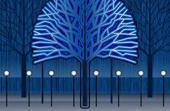 Drzewa w noc Obraz Stock