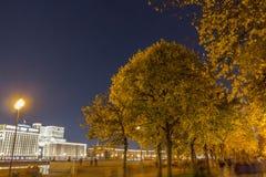 Drzewa w parku z wieczór zaświecają lampiony fotografia stock