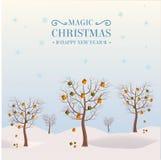 Drzewa w zimie z prezentami na gałąź Obraz Royalty Free