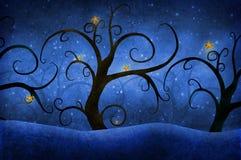 Drzewa z gwiazdami royalty ilustracja