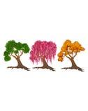 Drzewa zielony różowy kolor żółty Zdjęcia Stock