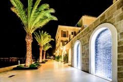 Drzewka palmowe i budynki w nocy światłach w Marina Porto Zdjęcia Stock
