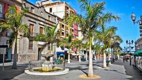 Drzewka palmowe i domy w Hiszpania fotografia stock