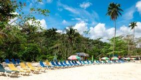 Drzewka palmowe i słońc łóżka pod pastelem barwili parasol na karaibskiej plaży Obrazy Stock