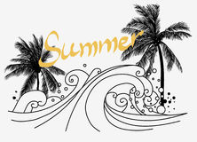 Drzewka palmowe na dennym brzeg również zwrócić corel ilustracji wektora Obrazy Stock