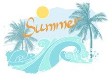 Drzewka palmowe na dennym brzeg również zwrócić corel ilustracji wektora Fotografia Stock