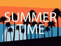 Drzewka palmowe na zmierzchu tle młodzi dorośli Tropikalny krajobraz, plaża wakacje wektor Obraz Royalty Free