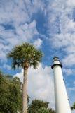 Drzewka Palmowego niebo i latarnia morska Zdjęcia Stock