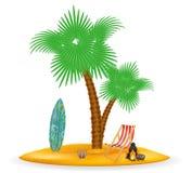 Drzewko palmowe i akcesoria dla odpoczynku zaopatrujemy wektorową ilustrację Obraz Stock