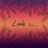Drzewna liść ramy miłość jest wektorowym ilustracją Obraz Stock