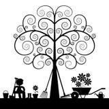 Drzewna sylwetka z ogrodnictw narzędziami ilustracja wektor
