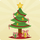 drzewne Boże Narodzenie teraźniejszość royalty ilustracja