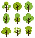 Drzewne ikony, set drzewa royalty ilustracja