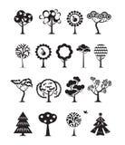 Drzewne ikony. Wektorowy format Fotografia Royalty Free