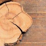 Drzewnego bagażnika kawałek na drewnianym tle z kopii przestrzenią dla teksta tła naturalny tekstury drewno Drzewny przekroju pop Zdjęcie Stock
