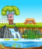 Drzewnego domu natury krajobraz ilustracji