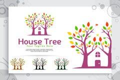 Drzewnego domu wektorowy logo robić od dwa drzew wciela z domem jako symbol ikona siedzibę jak wioska dom, może używać dla ilustracji