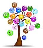 drzewni ładni exp kolorowi różni smilies Zdjęcia Royalty Free